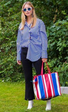 Pernille Teisbaek, with Balenciaga bag. Photographed by Style Du Monde at Copenhagen Fashion Week.