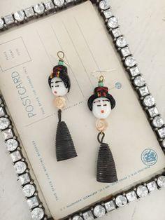 geishalampwork geisha beaded dangle earrings assemblage by Arey