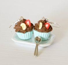 Cute earrings chocolate cupcake miniature kawaii Polymer by Zoozim, $17.00