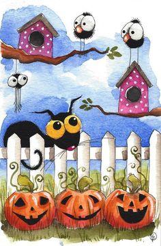 Original watercolor painting Stressie cat whimsical crows bird Halloween Pumpkin #IllustrationArt