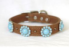 Tan Leather Dog Collar, Small Tan leather dog collar, Turquoise Conchos , Leather Dog Collar, Small or custom dog collar