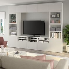 IKEA - BESTÅ, TV storage combination/glass doors, white, Lappviken light grey clear glass, The drawers have integrated push-openers so that you can open them with just a light push. Tv Wall Decor, Room Decor, Tv Wall Ideas Living Room, Living Room Units, Living Room Tv Cabinet, Tv Wanddekor, Frame Shelf, Storage Spaces, Tv Storage Unit