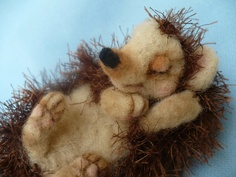 Sleeping Needle felted Collectible Hedgehog OOAK by by grannancan,