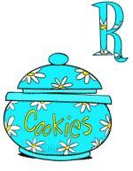 Alfabeto animado de Garfield saliendo de tarro de galletas.