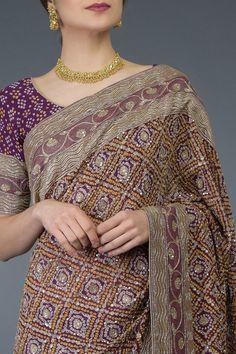 Masterpiece Plum Banarasi Zari Bandhej Saree with Zardozi Hand Embroidery Pure Georgette Sarees, Bandhani Saree, Silk Sarees, Saris, Indian Wedding Outfits, Indian Outfits, Bridal Outfits, Indian Dresses, Designer Sarees Wedding