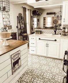 Granada Tile Stencil DIY painted and stenciled farmhouse kitchen makeover ideas on a budget using easy to use tile stencil patterns from Cutting Edge Stencils Farmhouse Kitchen Decor, Kitchen Flooring, Kitchen Makeover, Kitchen Diy Makeover, Kitchen Styling, Diy Kitchen, Kitchen Renovation, Tile Stencil, Kitchen Design