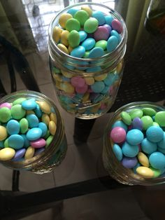 M&M's in Mason Jars, perfect party giveaways.