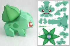 Cats Toys Ideas - photo Bulbasaur paper toy by ten paper via papermau - Ideal toys for small cats 3d Pokemon, Pokemon Bulbasaur, Pokemon Craft, Pokemon Party, Pokemon Birthday, Anime Crafts, 3d Paper Crafts, Paper Toys, Diy Paper