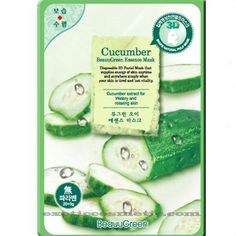 Beauu Green 3D Shape Facial Mask Sheet Pack - Cucumber by 3D Shape Facial Mask Sheet Pack - Cucumber. $11.00. This mask has excellent effects of moisture and relaxing skin. It provides mental stability, vitality, refreshing and moisturizing to your skin. Cucumber extracts for moisture and relaxing skin .  This mask has excellent effects of moisture and relaxing skin. It provides mental stability, vitality, refreshing and moisturizing to your skin  Disposable 3D facia...