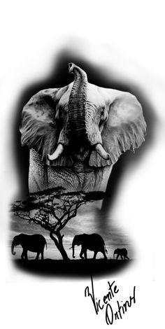 Animal Sleeve Tattoo, Animal Tattoos, Sleeve Tattoos, Elefante Tribal, Elefante Tattoo, Elephant Tattoo Design, Elephant Tattoos, Black And White Art Drawing, Black And Grey Tattoos