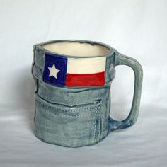 Handmade in Texas! Great gift and supports a local family in their business!  Texas Flag Blue Jean Mug. $20.00, via Etsy.