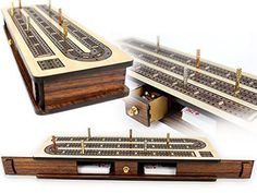 Maple, and rosewood, detailed craftsmanship, sliding doors, and a wee little drawer for your cribbage pegs. This ones a charmer. If not for yourself, this is an ideal cribbage board gift for the serious, or the novice cribbage player.