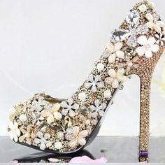 Floral Rhinestone pearl wedding Sho..