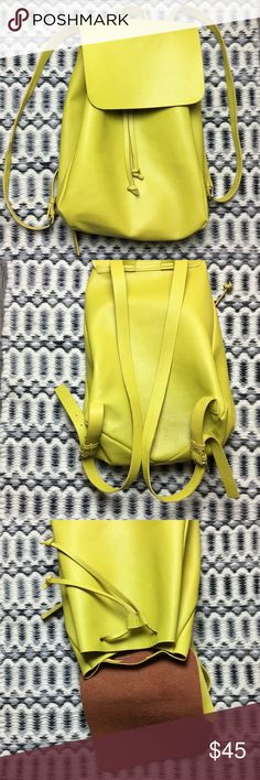 Zara Bright Yellow Backpack Faux leather super cute bag for work or casual evening out. Very simple and light material. Zara Bags Backpacks