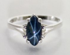 Natural Black Star Sapphire Ring Sterling Silver by TSNjewelry