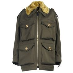 Burberry Field Jacket with Shearling Collar (26.234.260 IDR) ❤ liked on Polyvore featuring outerwear, jackets, oversized jacket, olive green military jacket, burberry jacket, military jacket and army jacket