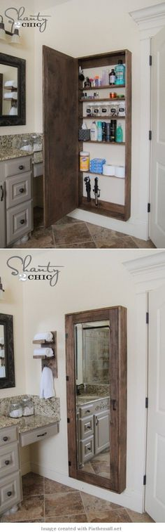 DIY Mirrored Medicine Cabinet Tutorial, Along with Organizational Tips. With adjustments, I hate the rustic look