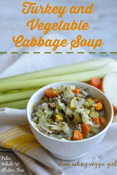 Turkey and Vegetable Cabbage Soup {Paleo, Whole 30, Gluten-Free, Grain-Free, Dairy-Free, Nightshade-Free}  cleaneatingveggiegirl.com