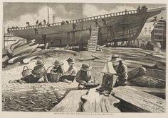 Ship-building, Gloucester Harbor, Wood Engraving by Homer, Winslow, Vintage Wall Art, Vintage Walls, Boston Public Library, Winslow Homer, Gloucester, Canvas Prints, Art Prints, Wood Engraving, Heritage Image