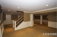 Basement Photos Open Staircase Design Ideas, Pictures, Remodel, and Decor. Future basement to look for once new home purchase. Basement Layout, Basement House, Basement Plans, Basement Bedrooms, Basement Flooring, Basement Laundry, Basement Bathroom, Basement Stairs, Flooring Ideas