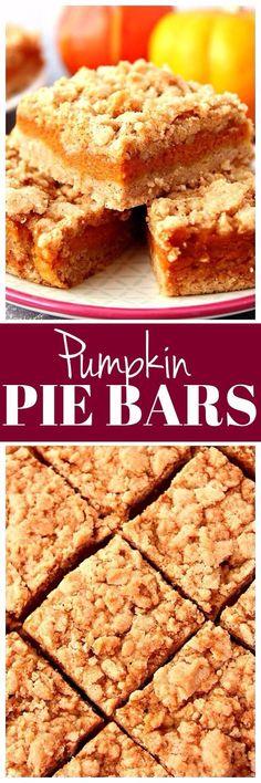 Pumpkin Pie Bars recipe - quick and easy dessert bars that taste like classic pumpkin pie! #thanksgiving #holiday www.crunchycreamysweet.com