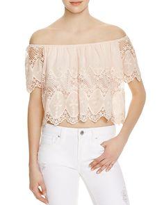 Lucy Paris Off-The-Shoulder Lace Top on ShopStyle