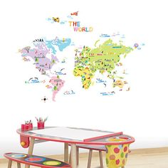 world map for kid's room.