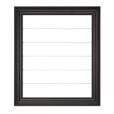 """Wood frame with decorative clothesline wires for hanging photos, memorabilia, and artwork. Sawtooth hanger on back. Interior dimensions: 13½"""" × 12""""."""