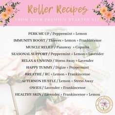 A great way to apply oils onto your body is to make roller blends out of them. Hence we will share with you several roller blend recipes you can try. Essential Oil Starter Kit, Essential Oils For Kids, Essential Oil Diffuser Blends, Young Living Essential Oils, Young Living Premium Starter Kit Recipes, Roller Bottle Recipes, Wellness, Young Living Oils, Go Green