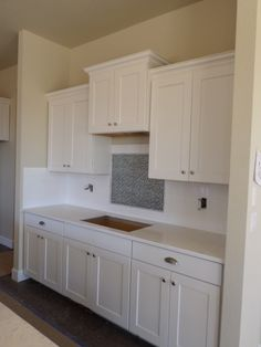 Timberlake New Haven Painted Linen Cabinets, Santa Margarita Victoria  Countertop And Emser Vogue White Gloss