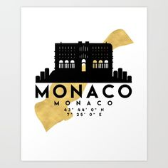 MONACO MONACO SILHOUETTE SKYLINE MAP ART - The beautiful silhouette skyline and map of Monaco and with the exact coordinates make up this amazing art piece. A great gift for anybody that has love for this city.  graphic-design digital typography illustration vector monaco france downtown silhouette skyline map coordinates souvenir gold deificus-art