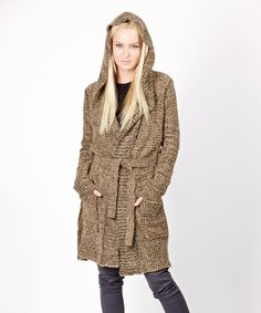 Look at this Scarlett Brown Wool-Blend Hooded Cardigan - Women on #zulily today!