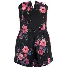 Sans Souci Floral strapless romper ($35) ❤ liked on Polyvore featuring jumpsuits, rompers, romper, dresses, shorts, black, floral romper, flower print romper, floral rompers and strapless floral romper