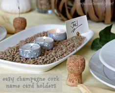 champagne cork name card holder