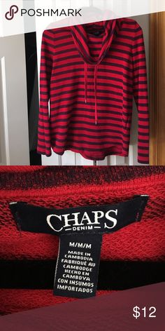 Chaos cowl neck shirt Red and blue cowl neck shirt Chaps Tops Sweatshirts & Hoodies