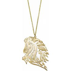 Monserat De Lucca Brass Mustang Horse Necklace ❤ liked on Polyvore