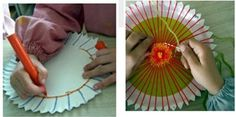 hacer un telar con un plato de papel