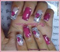 Cute pink and white nail art idea | gel nails | acrylic nails | decorado de unas | Más