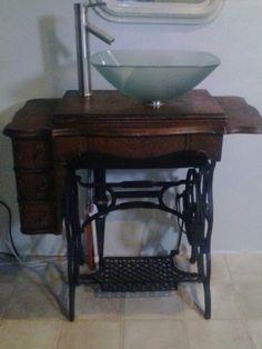 Antique sewing machine vessel sink