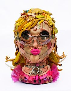 Great sculpture project titled 'dollfaces' by australian artist freya jobbins. These sculptures consist of plastic doll parts . Recycled Toys, Recycled Art, Repurposed, Trash Art, Plastic Doll, Plastic Art, Portraits, Doll Parts, Childhood Toys