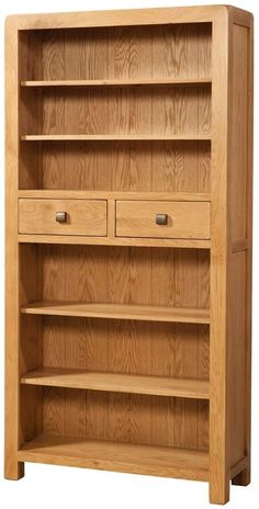 Avon Oak Furniture Tall Bookcase with 2 Drawers Slim Bookcase, Bookcases For Sale, Bookshelves In Living Room, Small Bookcase, Cube Bookcase, Black Bookcase, G Plan Furniture, Pine Bedroom Furniture, Large Furniture