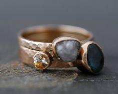 Custom 14k Gold Stacking Engagement and Wedding Ring Set- Rough and Cut Gemstones. via Etsy.