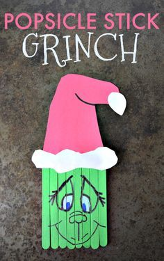 Popsicle Stick Grinch Craft Create this super cute Popsicle Stick Grinch with your kids this holiday season. A perfect pairing with the classic book and movie. Preschool Christmas, Christmas Crafts For Kids, Christmas Activities, Diy Christmas Ornaments, Christmas Projects, Craft Activities, Preschool Crafts, Kids Christmas, Holiday Crafts