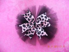 Pink, Black and Brown Leopard Print Tulle Hair Bow- For girl baby, toddler, child