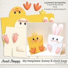 DIY Templates: Bunny & Chick Bags by Heather Roselli