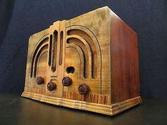 VINTAGE 1930s GENERAL ELECTRIC ANTIQUE WOOD ART DECO OLD RADIO