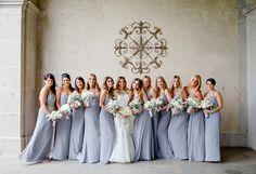 Bridesmaid Dresses, Jim Hjelm, Dress by: Pronovias, Flowers by: Events by Reuven, Photo: Lillian Haider Photography - New York Wedding http://caratsandcake.com/heatherandbrett