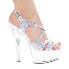c7b7e6617f4 Womens 6 Inch Heel Glitter Strappy Platform Sandal Silver -- You can find  more details by visiting the image link. (This is an affiliate link)