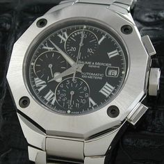 Baume & Mercier Riviera XXL Black Dial SS Bracelet Mens Watch