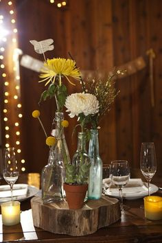 Bottles as centerpiece decor